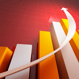 3d stat with growing arrow. Business background Stock Photos