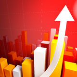 3d stat with growing arrow. Business background Stock Photography