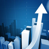 3d stat with growing arrow. 3d financial graph stat business background Stock Photo