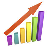 3d Statistics. Statistics bars of different colors and a red arrow, made in 3d Stock Photo