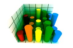 3d statistics. Statistics - 3d isolated multicolor diagram Royalty Free Stock Images