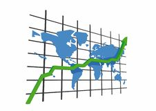 3d statistics - world map Royalty Free Stock Photos