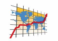 3d statistieken - wereldkaart Stock Foto