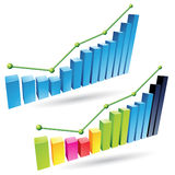 3d Stats Bars. Vector illustration of colorful 3d stat bar graphs Stock Photography