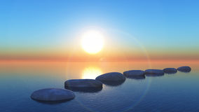 Free 3D Stepping Stones In The Ocean At Sunset Stock Image - 74080681