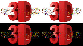 3d Stereoscopic concept. Side by side, left first. 3d Text with colorful geometric shapes. Include two version. Black & White Background. 16/9 HD Ratio. For 3d Stock Photo