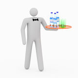 3D Steward. 3D waiter carrying water and glasses Stock Photo