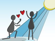 3D Stick Figure Marriage Proposal Stock Photography