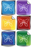 3D Sticker Set - Butterflies. Set of 6 3D buttons - square and sticker style - butterflies Stock Images
