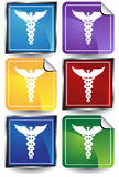 3D Sticker Set - Caduceus. Set of 6 3D buttons - square and sticker style - caduceus Stock Photography