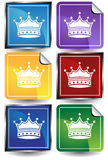 3D Sticker Set - Crown. Set of 6 3D buttons - square and sticker style - crowns Royalty Free Stock Photo