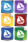 3D Sticker Set - Sailboat. Set of 6 3D buttons - square and sticker style - sailboat Stock Photos