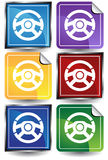 3D Sticker Set - Steering Wheel. Set of 6 3D buttons - square and sticker style - steering wheel Stock Photography