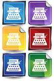 3D Sticker Set - Typewriter. Set of 6 3D buttons - square and sticker style - old fashion typewriter Royalty Free Stock Images