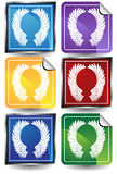 3D Sticker Set - Wings. Set of 6 3D buttons - square and sticker style - wings Royalty Free Stock Photos