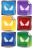 3D Sticker Set - wings. Set of 6 3D buttons - square and sticker style - wings Stock Photos