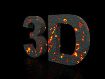 3d of stone. Isolated on black Royalty Free Stock Photography