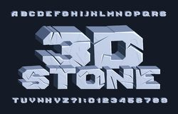Free 3D Stone Alphabet Font. Cracked Letters And Numbers. Stock Image - 148501991