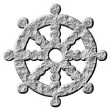3D Stone Buddhism Symbol Wheel of Dharma. Isolated in white Stock Images