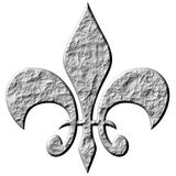 3D Stone Fleur de Lis. Isolated in white Royalty Free Stock Images