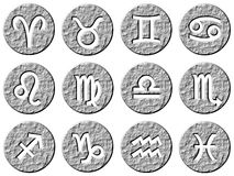 3d stone framed zodiac signs. Isolated in white Stock Images