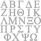 3D Stone Greek Alphabet. Isolated in white Stock Image