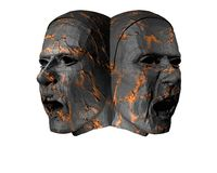 3D stone heads Stock Image