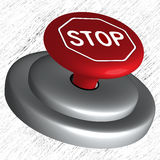 3d stop button. Over striped background, abstract vector art illustration Stock Images