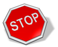 3D stop sign stock illustration