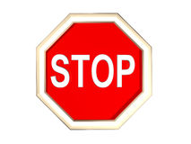 A 3d stop sign. In a white background Stock Photo
