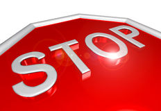 3D stop sign closeup Royalty Free Stock Photography