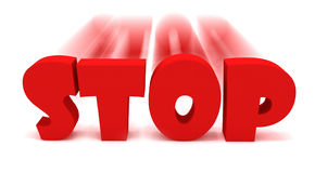 3D Stop Text. In movement Royalty Free Stock Photo