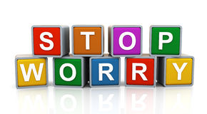 3d Stop worry. 3d render of reflective shiny text boxes of word stop worry Stock Photos