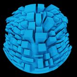 3d Strange Distorted Abstract City, Little Planet. In Fish Eye Royalty Free Stock Photos