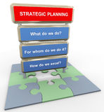 3d strategic planning concept. 3d render of questions related to strategic planning on puzzle peaces Stock Image