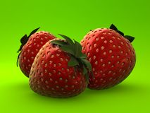 3d strawberries Royalty Free Stock Photo