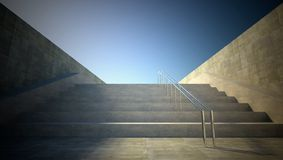 3d street view, stairs to sky Royalty Free Stock Image