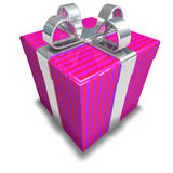 3D Striped Pink Gift. 3d gift isolated on white background Royalty Free Stock Images