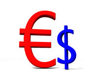 3D strong euro against weak dollar Royalty Free Stock Photography
