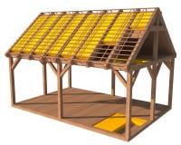 3D structuur van huis met thermische isolatie Royalty-vrije Stock Fotografie