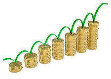 3d strzałkowate monety diagram złotego Obraz Stock