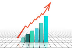 3d strzałkowaty biznesowy idzie wykres odpłaca się biznesowy Fotografia Royalty Free