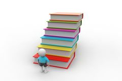 3d student and books, education concept. In white color background Stock Photography