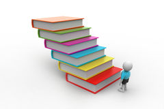 3d student and books, education concept. In white color background Royalty Free Stock Photography