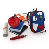 3d student books, pen, backpacks. And red apple at school on white background Royalty Free Stock Photo