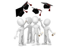 3d students jumping for final colege graduation. 3d students jumping, happy for graduation Royalty Free Stock Photos