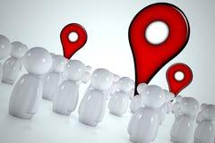 3d stylizujący mężczyzna target757_1_ pointerów mapę Fotografia Stock
