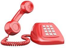 3D stylu czerwony staromodny telefon Fotografia Royalty Free
