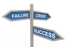 3d success and failure. 3d road sign of text success, failure and crises royalty free illustration