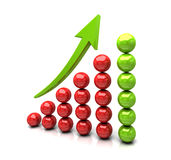 3D success graph. Made of red and green spheres Royalty Free Stock Images